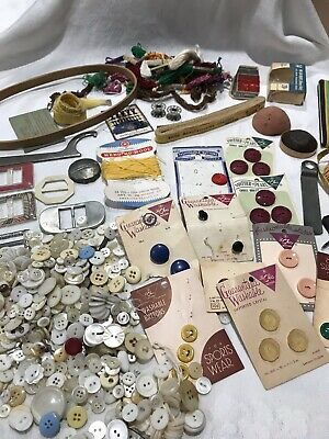Vintage Sewing Lot Buttons Thread Sharpener Tape Measures & More (42)