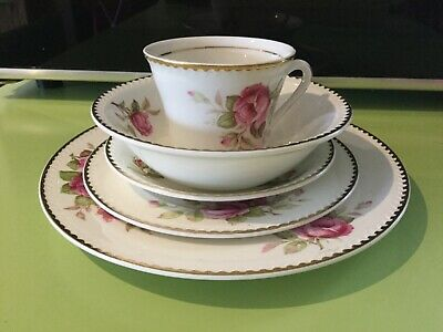 Portland gold edge pink roses pottery Cobridge Staffordshire 5-piece setting