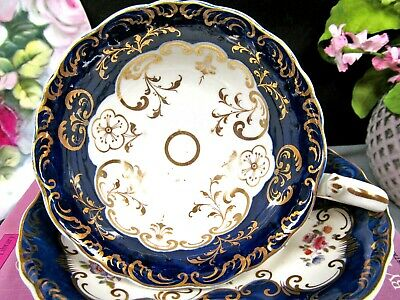 English Porcelain RIDGWAY 1835  tea cup and saucer COBALT blue marriage teacup