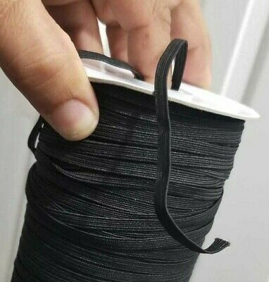 Elastic Band 1/4 inches Width (6mm)  Black For DIY Mask 10 yard to 180 Y