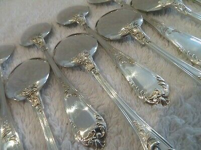 gorgeous french sterling silver 12 ice cream spoons rococo st