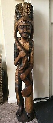 Very Large, Used Carved Indian Wooden Figure/Man Large. From Solid Wood