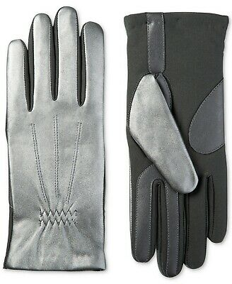 S/M Isotoner Women's Stretch Leather Touchscreen Silver Gloves w SleekHeat™ $62