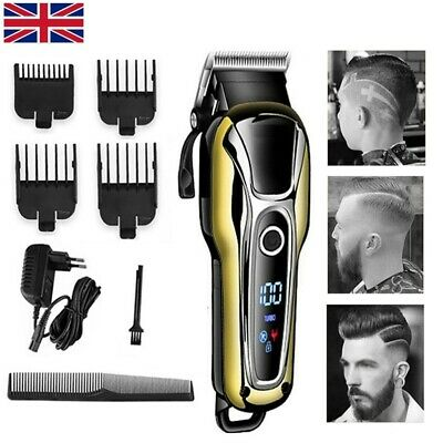 Mens Hair Clippers Cordless Hair Trimmer Haircut Grooming Kit LED Display UK