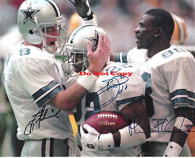Troy Aikman, Emmit Smith, Michael Irvin (Cowboys) Autographed Signed 8x10 Photo