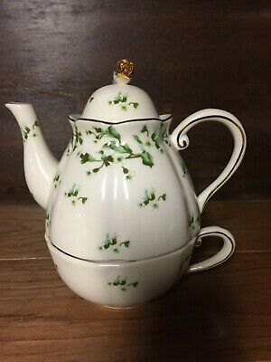~ 1 ~ Tea For One Fine Porcelain Green Vine Design 3Pc Coastline Imports