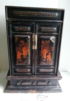 Antique Chinese Black Lacquered Camphor Altar Shrine From Chaozhou