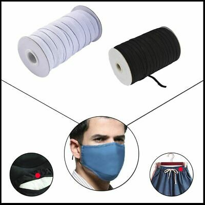 5/10/20/30 M - GOOD STRONG QUALITY FLAT WOVEN ELASTIC - BLACK 4mm  - FACE MASKS