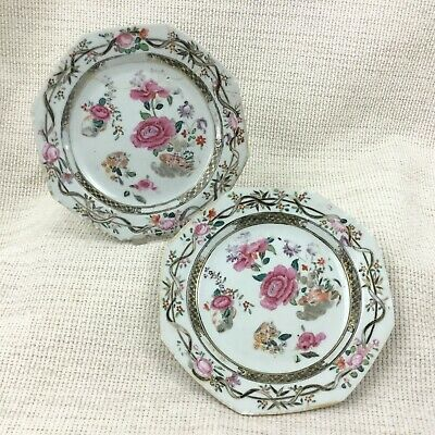 Ancien Chinois Porcelaine Assiettes Main Peint Famile Rose Jiaqing Export Chine