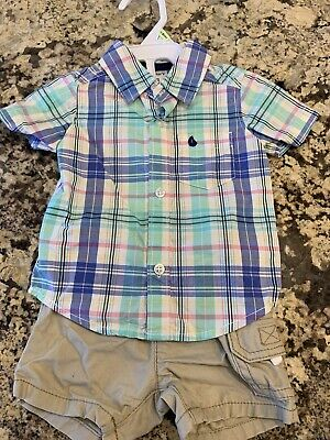 Carters Baby Infant Boy Outfit Size 3M Short Set Summer Plaid Khaki