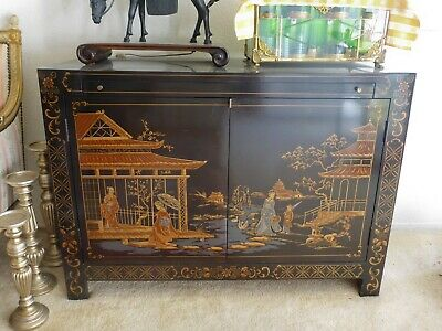 "VINTAGE Lacquered Chinoiserie Asian Cabinet 30"" H x 41"" W - EXCELLENT CONDITION"