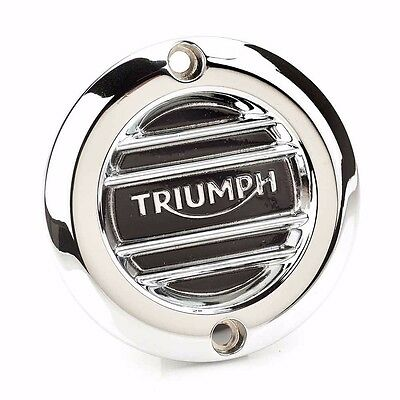 Triumph Bonneville Speedmaster Chrome Ribbed Clutch Cover Badge A9610251