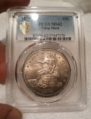 1874-S Trade Dollar PCGS Certified MS-62 Gorgeous Toning! Choice/Gem BU Trueview