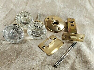 GLASS DOOR KNOBS WITH BRASS FINISH BASE VINTAGE STYLE w/ hardware
