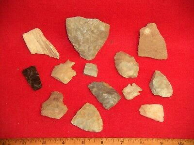 Points / Knives / Scraper / Pottery - 13  Authentic Artifacts - Various States