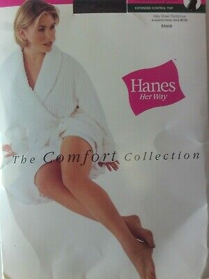"Hanes Her Way ""The Comfort Collection"" Pantyhose  Medium Plus Black #60"