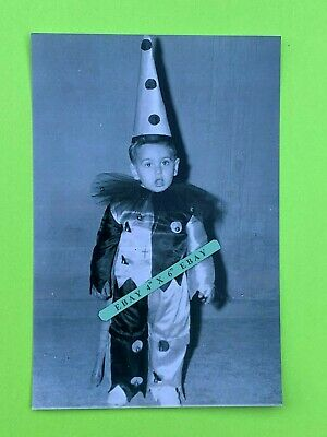 Found 4X6 Photo of a Weird Odd Unusual Creepy Little Halloween Clown Kid