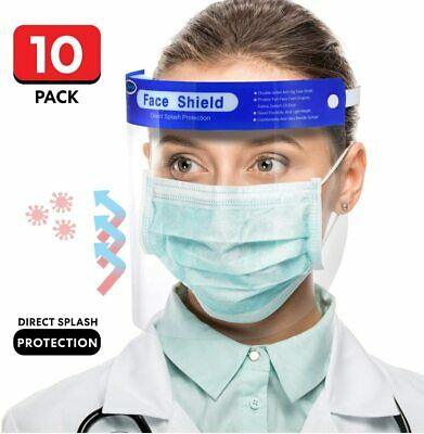10pc Safety Full Face Shield Reusable Washable Protection Cover Anti-Splash