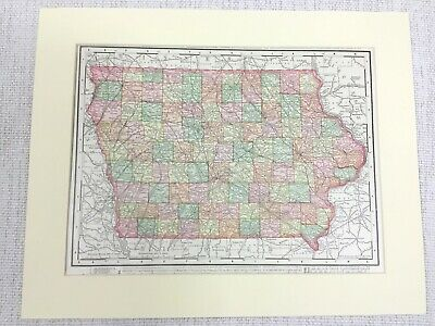 1901 Antique State Map of Iowa The United States of America Americana USA