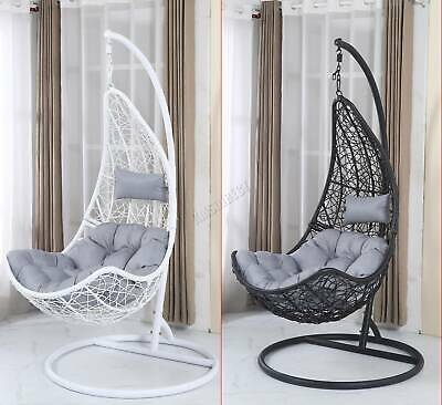 BIRCHTREE Garden Rattan Hanging Swing Chair Hammock With Stand Cushion Bedroom