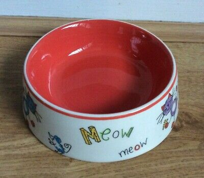 Small Cat Bowl Limited Edition by Whittard of Chelsea Orange/White