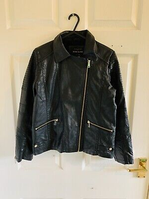 Black Faux Leather River Island Jacket Coat Age 12 Years 11/12 12/13 (5422)