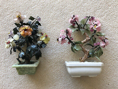Two Vintage Oriental Chinese Jade Bonsai Trees - Gem Blossoms Marble Pot