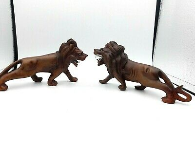 Antique Pair Chinese Carved Hard Wood Wooden Lion Ornament Figurine Statues