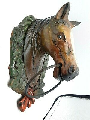Antique Vintage Cast Iron Painted Horses Head Hitching Post Sculpture Wall Hang