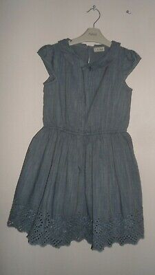 Next Girls Pretty Broderie Anglais Denim Look Dress Age 9 Years