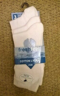 3 Pack Fresh Feel White Cotton Lycra School Socks Size UK 12.5 to 3.5 - BNIP