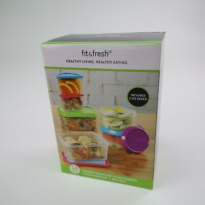 Fit & Fresh 14 pc Smart Portion Control Container Set BPA Free NEW Eat Healthy