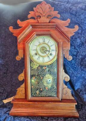 Antique New Haven 8 Day Gingerbread Kitchen Mantel Clock