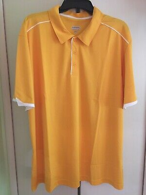 Augusta Sportswear Moisture Management Golf Polo Shirt Yellow/White Mens Sz XL