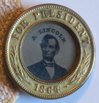 1864 Abraham Lincoln for President Ferrotype photo stick-pin,dated BRASS FRAME