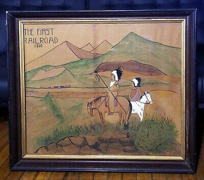 Antique 19th Century Western Native American Indian Folk Art Watercolor Painting