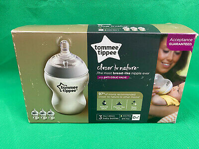 Tommee Tippee Closer To Nature 3x 9oz Baby Bottles with Anti-Colic Valve