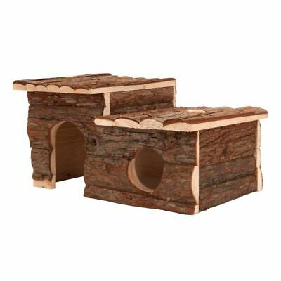 Small Pets Log Cabin Roof Terrace Wooden Rabbits Natural Quality Best Hideaway