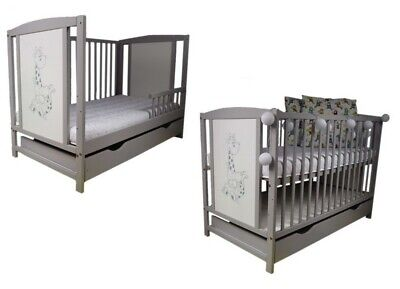 NEW Wooden Baby Cot Bed, with GUARD RAIL and DRAWER!!! Mattress Option. GREY.