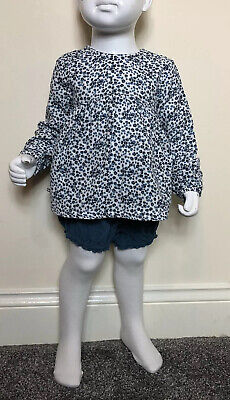 F&F Baby Girls Blue White Spot Blouse Shorts Tights Outfit Set UK 12-18 Months