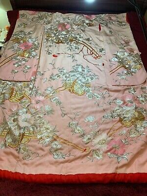 Antique/ Vintage Japanese Embroidered Silk Kimono Chinese Robe Embroidery #2!