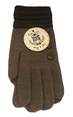 Britts Knits Gloves Ultra Soft Two Tone Brown with Button Accents One Size New