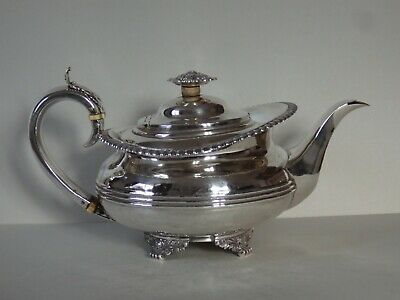 GEORGE IV SOLID SILVER TEAPOT - GEORGE BURROWS II - LONDON 1825 - 663g