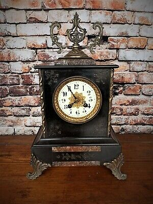 Highly decorative ornate 19th century antique slate and marble mantle clock
