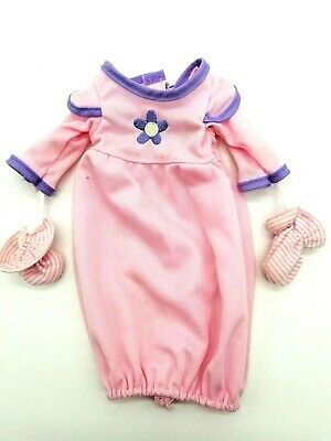 """Baby Doll Sleeper Gown With Attached Mittens Pink and Lavender Fits 12"""" Doll"""
