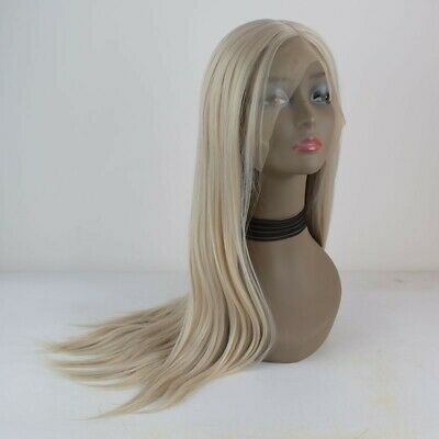 AU 24inch Synthetic fiber Lace front wigs  Natural Straight Pastel Blonde Women