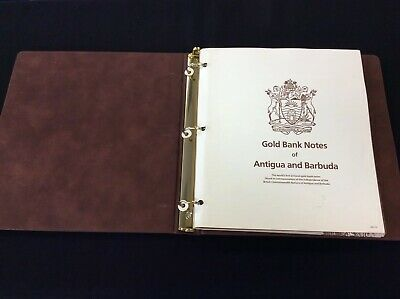 Set of (30) 23k Gold $30 Bank Notes of Antiqua & Barbuda- In Album in pages