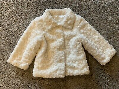 Girls cream faux fur coat, size 2-3 years