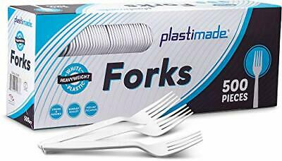 [500 Forks] Plastimade White Disposable Heavyweight Plastic Forks, (Forks|500)