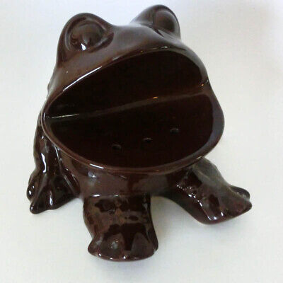 Rare Vintage 1970's Ceramic Brown Flower Frog VoHann of California Pottery VGC